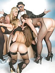 Ravishing sluts in nylons have a fervent groupsex with a studly lad