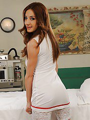 Foxy european nurse in stockings gets rid of her sexy uniform and panties