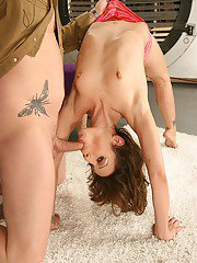 Flexy slut gets her holes drilled tough and takes a cumshot on her tongue