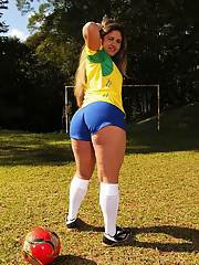 Naughty latina soccer player stripping off her sport outfit outdoor