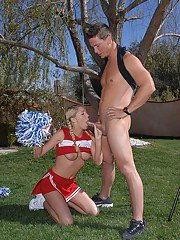 Lewd cheerleader with pigtails Brynn Tyler gets banged tough outdoor