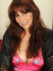 Lewd mature lady Estella Eves getting naked and toying her love holes