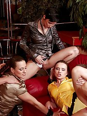 Kinky pornstars enjoy fully clothed groupsex mixed with pissing action