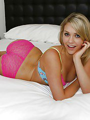 Wooing teenage sweetie Mia Malkova slipping off her lingerie on the bed