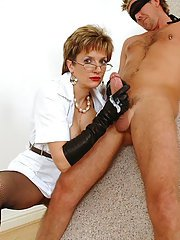 Mature fetish lady in leather gloves strokes cumshot out of hard dork
