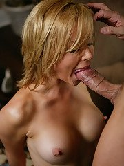 Busty blonde vixen with shaved gash fucks and blows off a huge boner