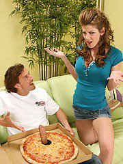 Slutty MILF Kayla Page has some hardcore fun with a studly pizza-guy