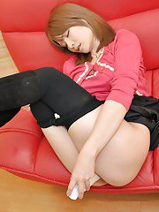 Pretty asian teen Chie Kishitani slowly uncovering her tiny curves