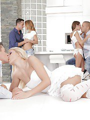 Lustful sweeties have a passionate groupsex with studly lads