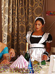 Lewd lezdom involves her submissive maid into steamy BDSM action