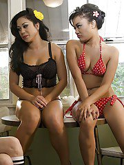 Lustful chicks get bored and make a sizzling lesbian threesome action
