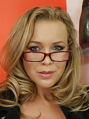Blonde MILF in glasses has no lingerie under her provocative police uniform