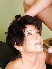 Sporty granny fucks her young coach and takes a facial cumshot