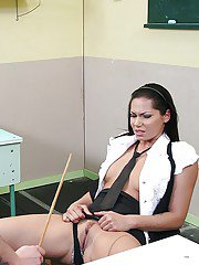Sexy schoolgirl gets caught cheating off and punished by her kinky teacher