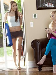 Brea Bennett  Celeste Star have a sensual lesbian sex after workout