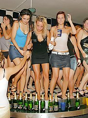 Lecherous MILFs going wild at the drunk and wet groupsex party