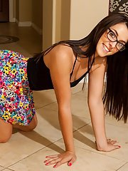 Sweetly pretty teen in glasses Alannah Monroe undressing and posing nude