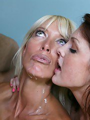 Lusty ladies take turns sucking a hard dick and share a creamy cumshot