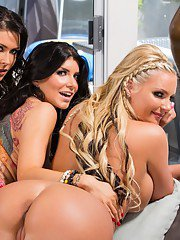 Three absolutely gorgeous MILFs stripping and caressing each other