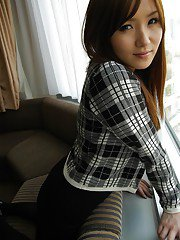Shy asian babe with cute smile Shiho Kitahara slipping off her clothes