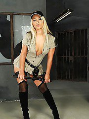 Voluptuous european blonde in stockings getting rid of her sexy uniform