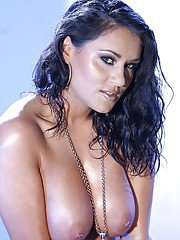 Latina chick Charley Chase undressing and exposing her tempting curves