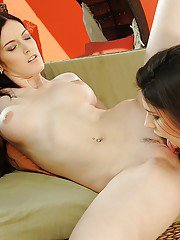 Leggy european lesbians with shapely tits playing with their sex toys