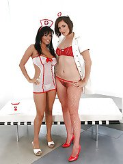 Wooing chicks in sexy nurse uniforms revealing their curvy bodies