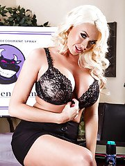 Curvy blonde Summer Brielle gets rid of her dress clothes and sexy lingerie