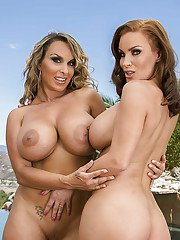 Big busted MILFs Diamond Foxxx  Holly Halston posing at the poolside