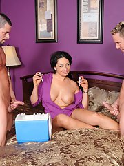 Voluptuous MILF Vannah Sterling has some hardcore fun with two hard cocks
