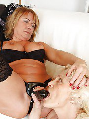 Kinky grannies make some BDSM lezdom action using ropes and their toys