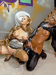 Naughty fashionistas have some slimy and messy gloryhole fun with a fake cock