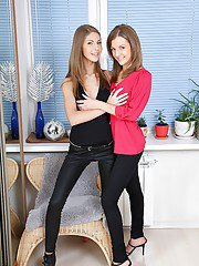 Petite teenage lesbians stripping each other and pleasing each others holes
