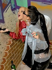 Stacy Silver  Nessa Devil are into slimy fully clothed gloryhole fun