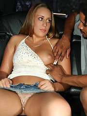 Free-and-easy gal with nice tits gets tricked into interracial blowjob action
