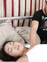 Slipping asian teen gets awoke and anally crashed by her hung boyfriend
