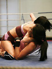 Voluptuous sporty brunettes have a fervent catfight turning into lesbian sex