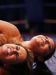 Naughty sporty girls have a catfight ending up with pussy licking action