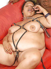 SSBBW bombshell in fetish outfit blows a big black boner and gets fucked