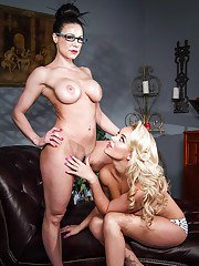 Stunning MILF in glasses has some lesbian humping fun with her teenage friend