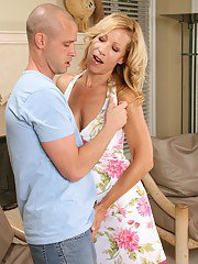Bosomy MILF blows and fucks a stiff cock for a cumshot on her tongue