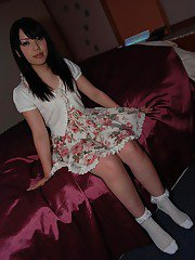 Lovely asian teen Chisa Nagata getting nude and vibing her slit