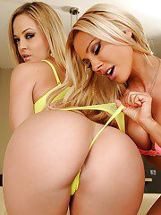 Frolic blonde lesbians pleasing each other with their nimble tongues