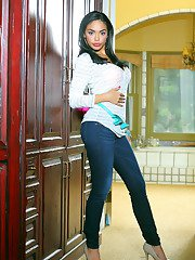 Immensely hot latina floosie slowly uncovering her desirable body