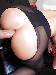 Hot lady gets her pantyhose ripped and enjoys a big cock drilling her asshole