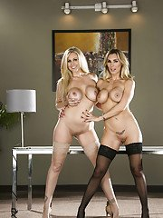 Desirable blonde office ladies stripping and caressing each other