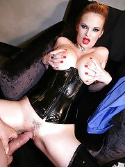 European femdom in latex boots and girdle gets her pussy licked and nailed