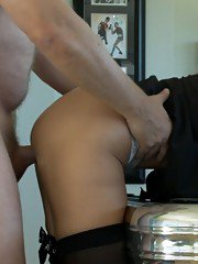 Juggy blonde gives a handjob and gets glazed with cum after tough twattting