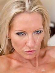 Well-toned blonde cougar with shaved cunt and big tits fucks a big young cock